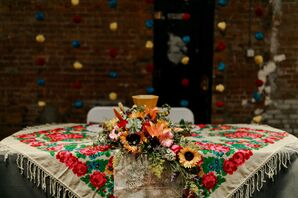 Sweetheart Table with Vintage Quilt and Sunflower Centerpiece