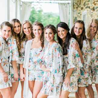 Bride and bridesmaids getting ready the morning of their wedding
