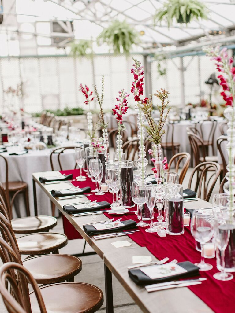 spring wedding centerpieces tall bright single stem flowers