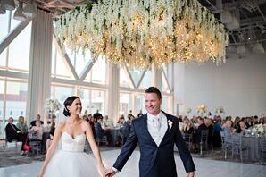 Couple Under Modern Hydrangea Chandelier