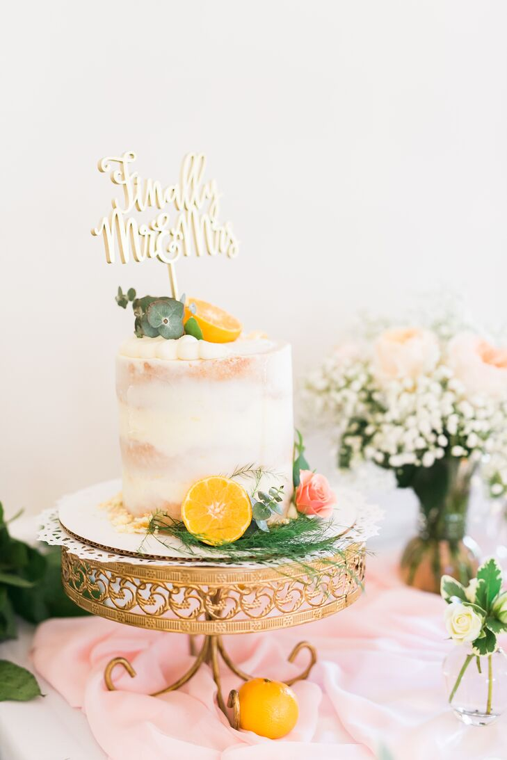 Citrus Single Tier Wedding Cake