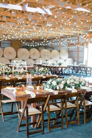Romantic and Rustic Reception with Farm Tables, Folding Chairs and String Lights
