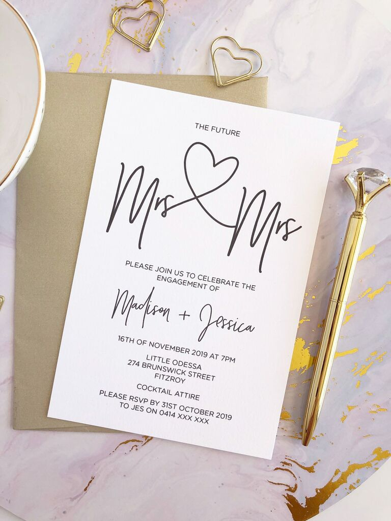 Romantic LGBTQ+ engagement party invitation