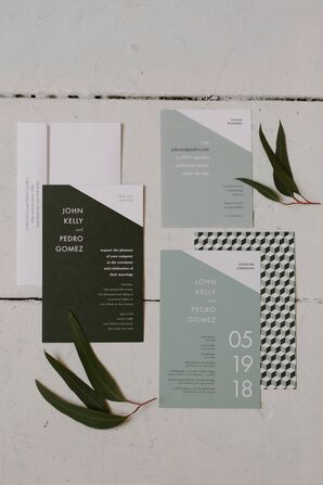 Invitations for Modern Loft Wedding in New York City