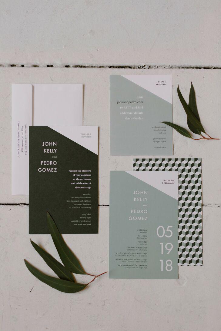 Invitations for Modern Loft Wedding in New York City