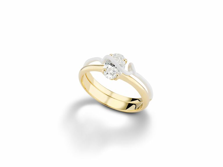 Bea Bongiasca yellow gold solitaire engagement ring with oval center diamond and removable white enamel band