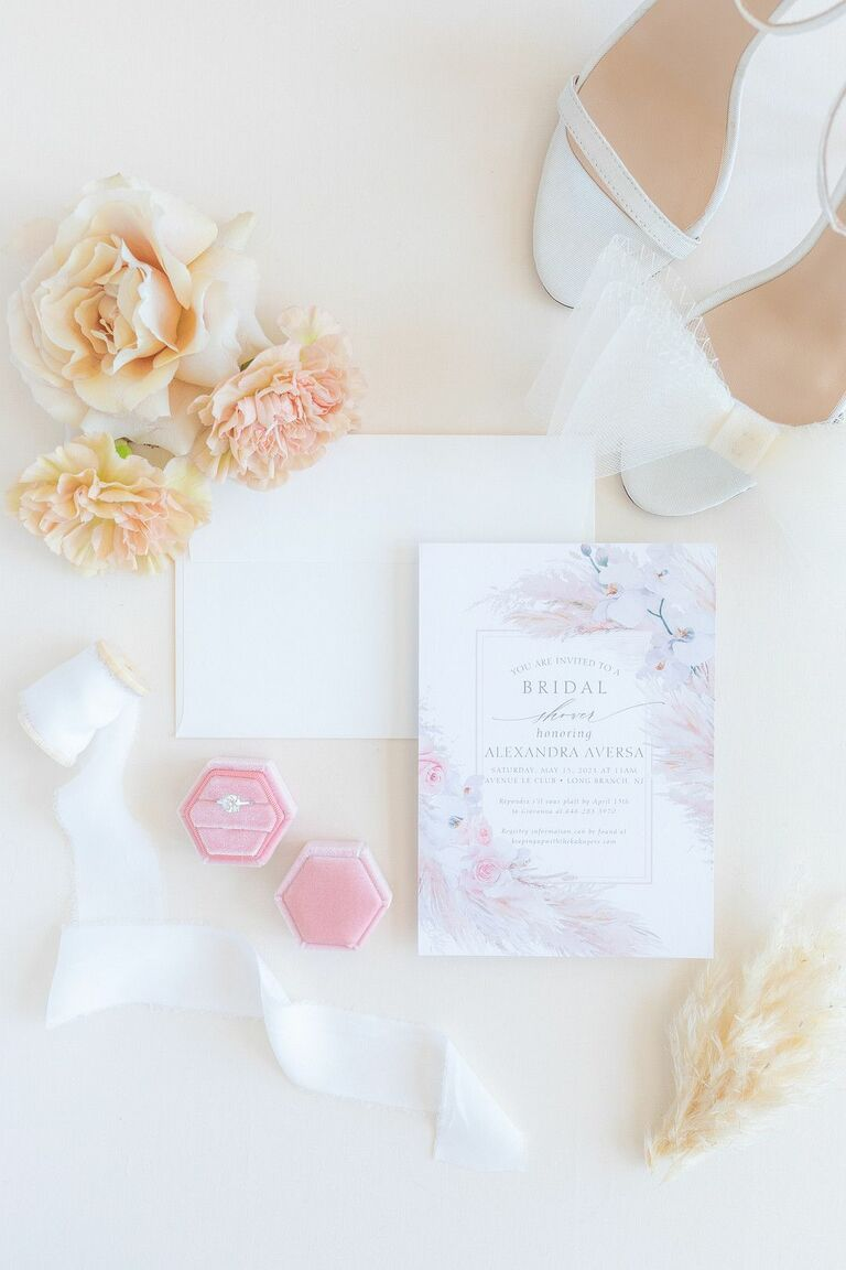 Pink-and-purple invitation for wedding shower