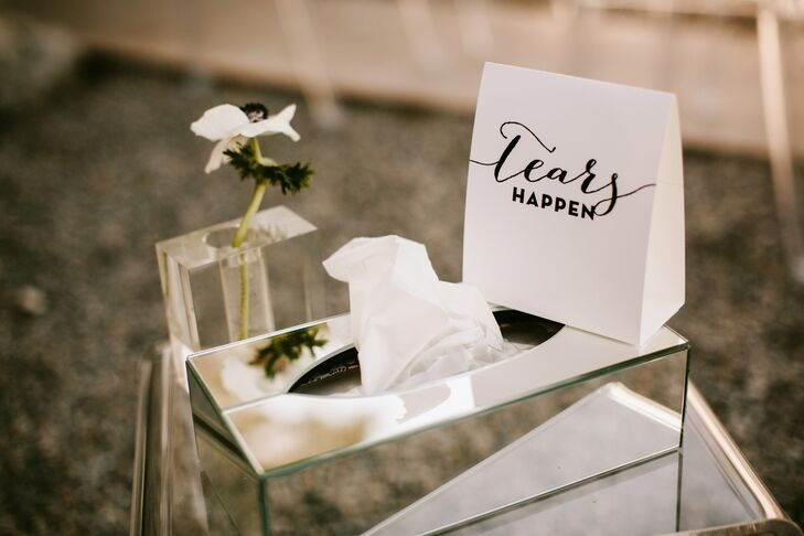Stainless steel boxes of tissues were provided for guests at the ceremony.
