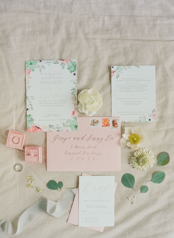 Elegant, Romantic Paper Goods with Calligraphy and Watercolor Design