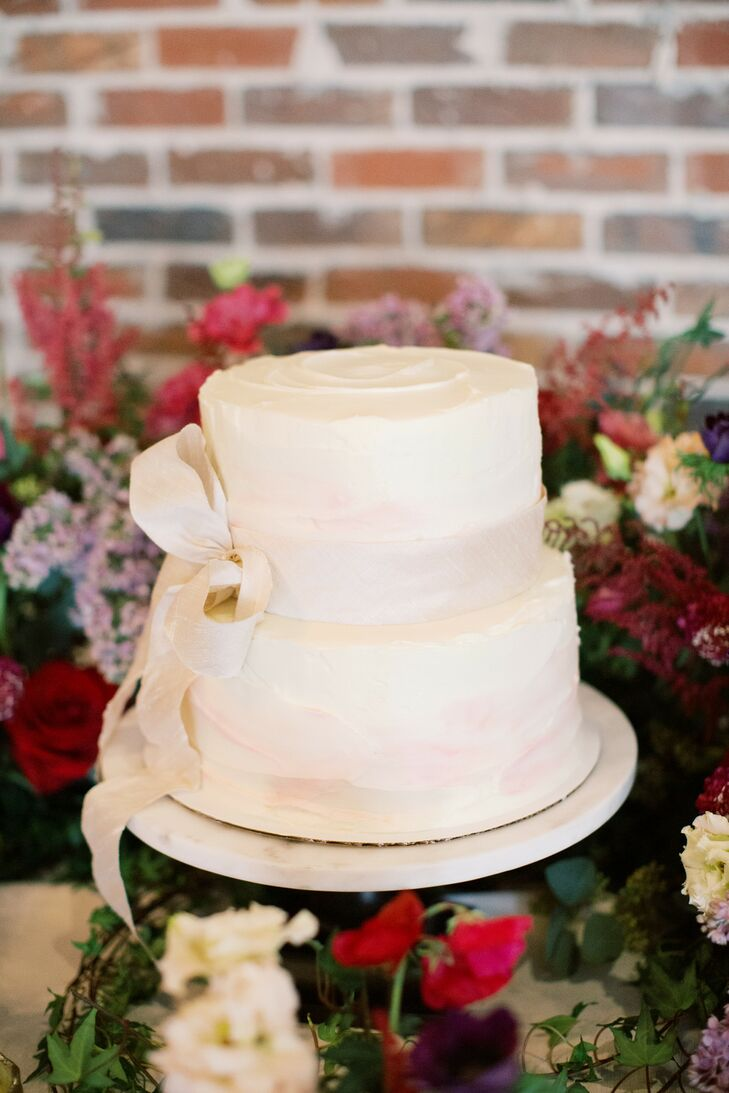Modern Two-Tier Wedding Cake with Ribbon