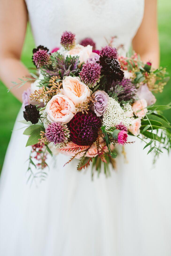 Purple Garden Rose And Dahlia Bouquet