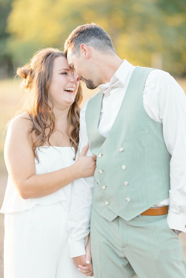 Casual and Romantic Couple at at WoodsEdge Farm Wedding & Events in Stockton, New Jersey