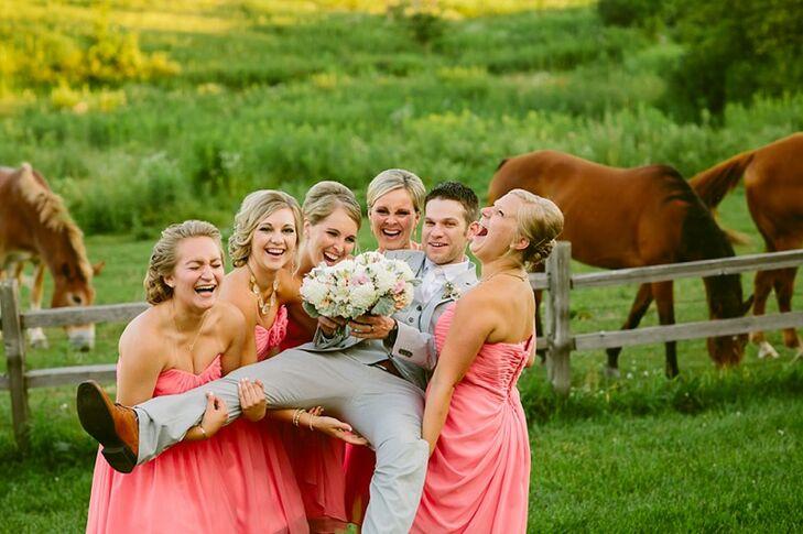 Coral-Pink Bridesmaids and Gray Groom at Enchanted Barn Wedding