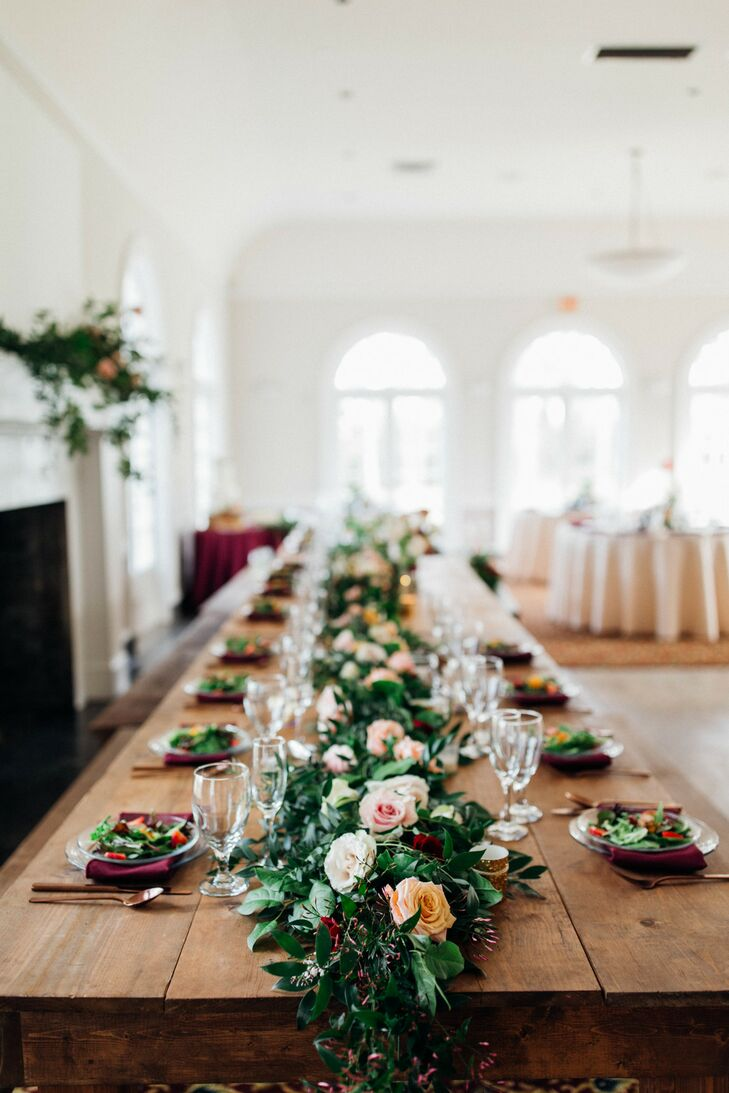 Rustic Wood Dining Table with Romantic Rose and Greenery Runner at Ribault Club
