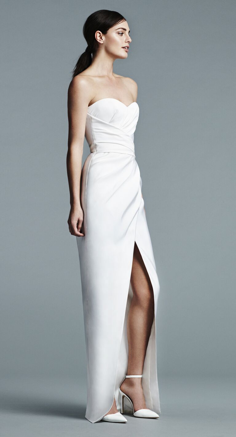 J Mendel strapless wedding dress wtih pleated bodice and sleek wrap skirt with slit Spring 2017