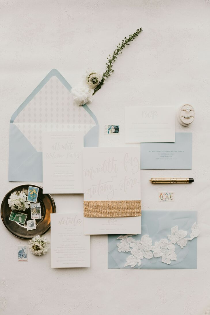 Classic White and Powder-Blue Invitations