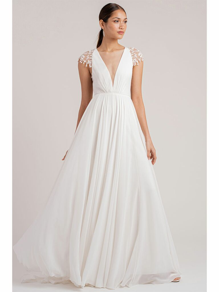 Jenny Yoo wedding dress a-line dress with lace cap sleeves