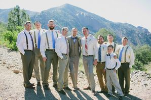 Casual Neutral Groomsmen with Blue Accents