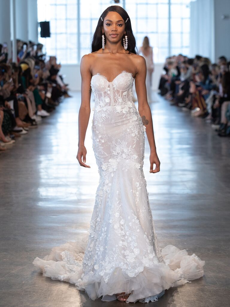 Berta Spring 2020 Bridal Collection strapless floral appliqué wedding dress