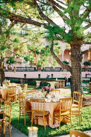 Vintage Wooden Chairs and Blush-Covered Tables