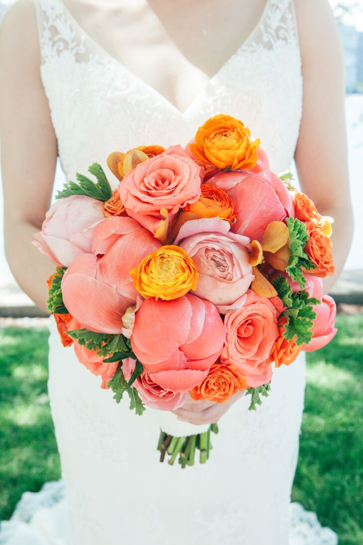 Full Pink Rose, Peony and Ranunculus Bouquet