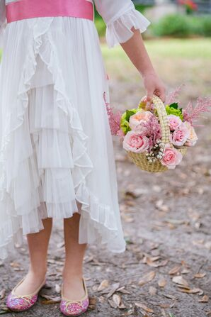 Rustic Layered Flower Girl Dress with Garden Rose Basket