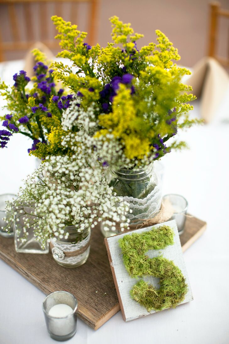 Mossy Table Numbers and Centerpieces