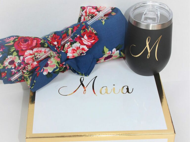 bridesmaid proposal box with robe and tumbler