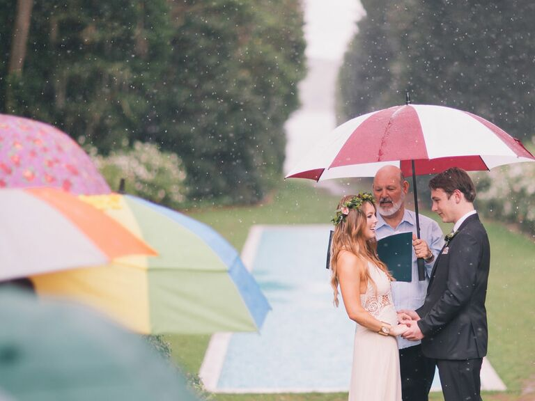 Outdoor spring wedding with rainfall