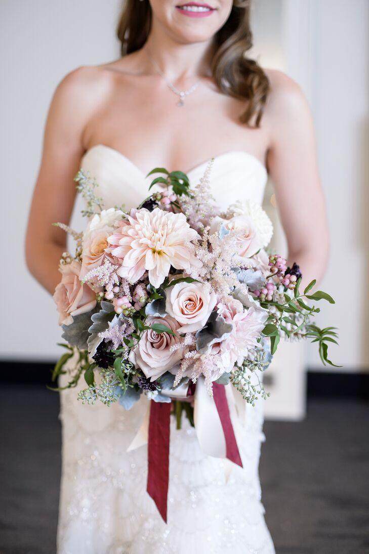Romantic Blush Dahlia and Rose Bouquet