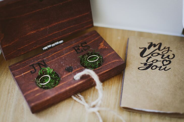 Personalized Wood and Moss Ring Box