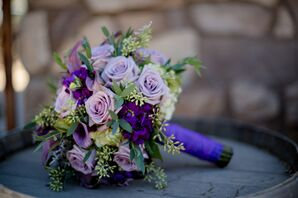 Purple and Green Bouquet with Wrap