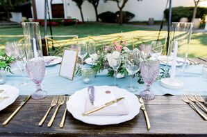 Purple-and-Blue Place Setting at Wente Winery Wedding