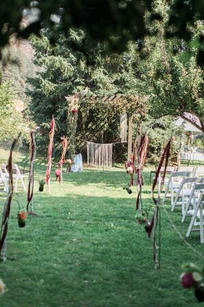 Hanging Macramé and Floral Aisle Decorations