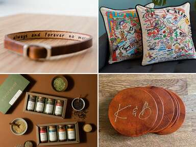Collage of four third anniversary gift ideas
