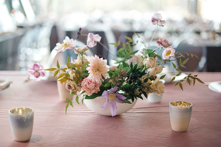 Pink and Lavender Ikebana-style Centerpieces with Roses, Dahlias, Carnations and Cosmos
