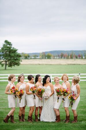 Bridesmaids in Brown Cowboy Boots