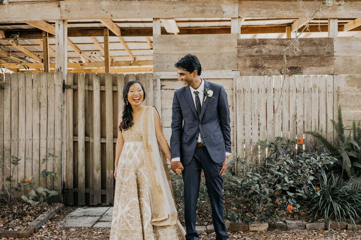 Ivory Lehenga with Gold Embroidery and Simple Blue-Gray Suit