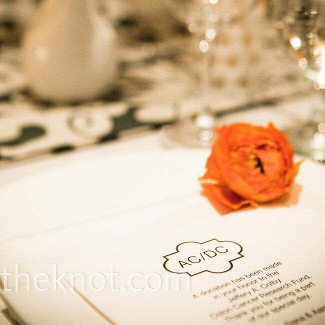 In lieu of favors, Dana and Aaron made charitable donations in guests' names and set out cards at each place setting to explain.