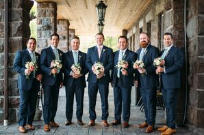Navy Suits With Sage Ties