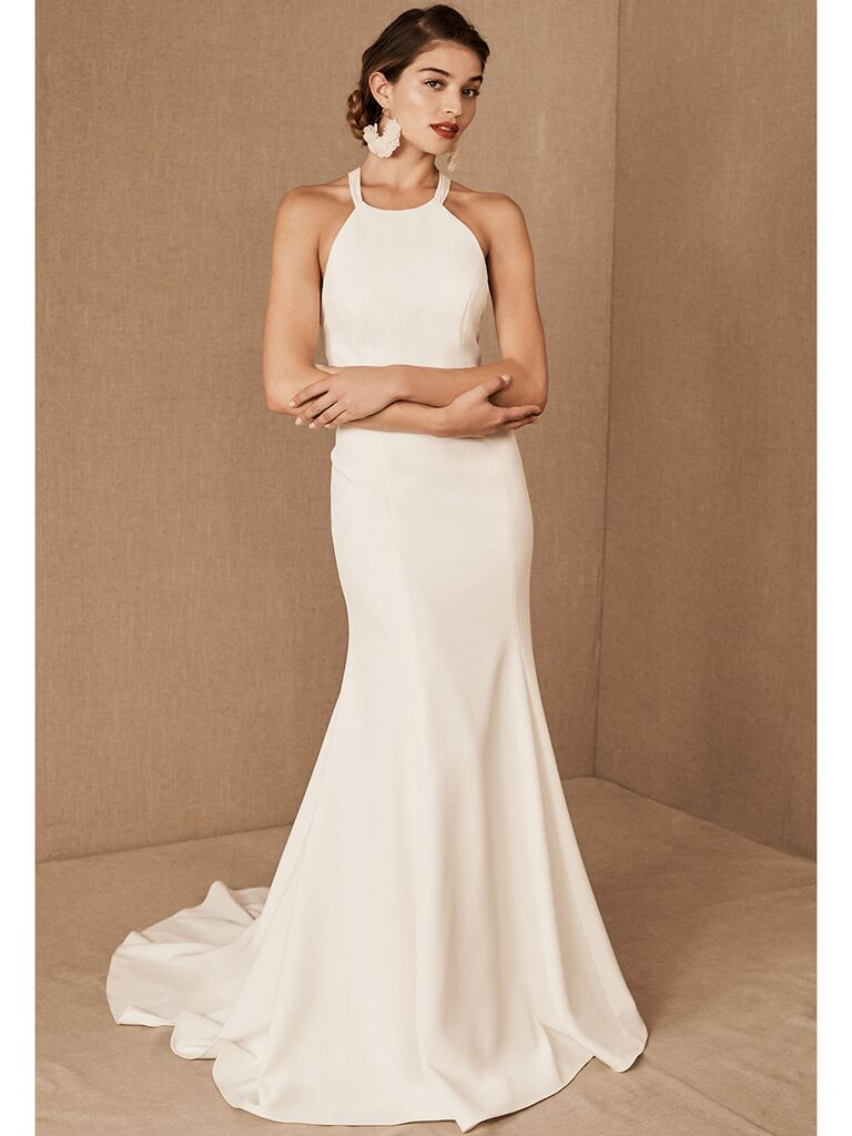 BHLDN fit-and-flare dress with high neckline