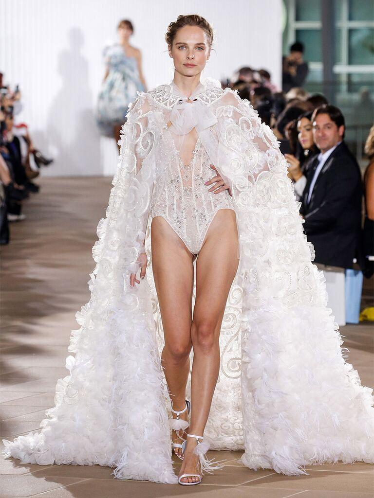 Ines Di Santo wedding dress beaded bodysuit with cape
