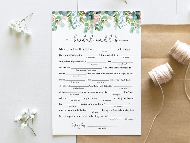Mad Libs-inspired bridal shower game