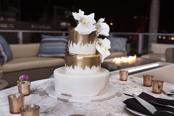Modern Fondant Cake with Hand-Painted Gold Tiers