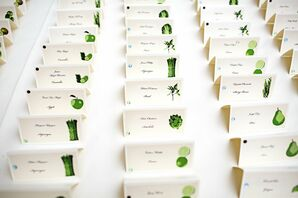White and Green Escort Cards