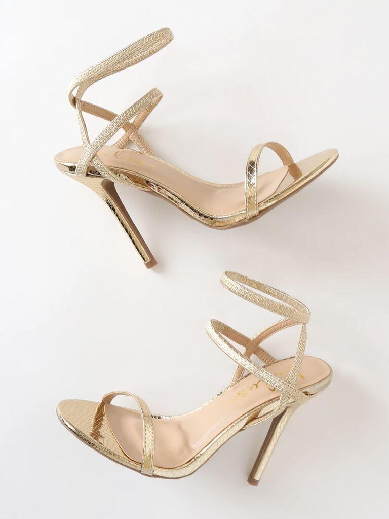 Lulus Adelle light gold Snake Embossed ankle strap heels
