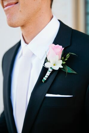 Black Indochino Groom's Suit with Pink Boutonniere