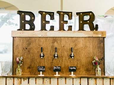 Rustic wood beer taps