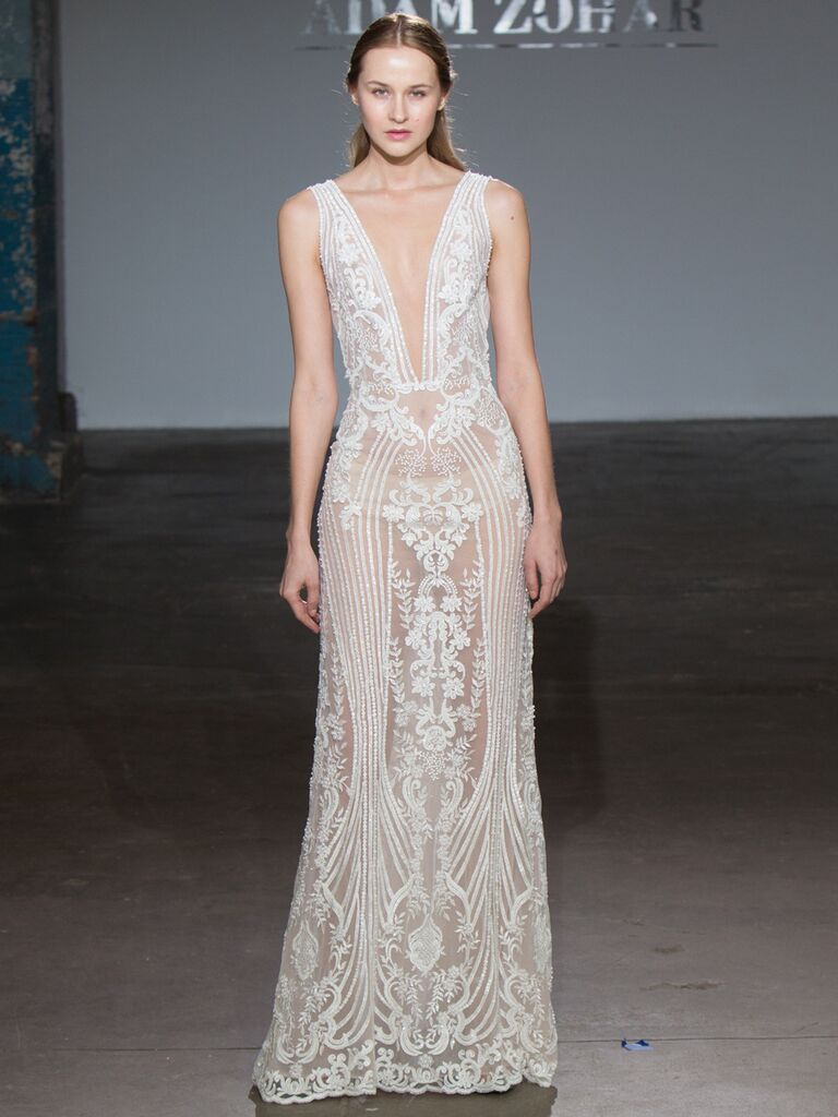 Adam Zohar Spring 2019 Collection sheer sheath wedding dress with illusion lace embroidering and dramatic plunging V neckline