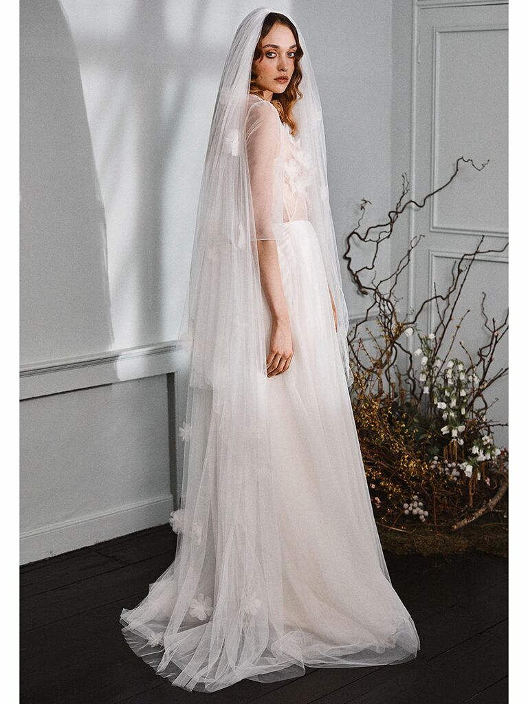 Halfpenny London wedding dress sheer lace long-sleeve gown